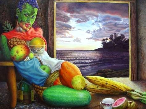 pinturas-surrealistas-bodegones-frutas-figura-humana-y-paisaje