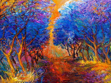 24294273-Pintura-al-leo-original-mostrando-hermoso-bosque-landscape-Autumn-puesta-del-sol-y-los-rayos-solares-Foto-de-archivo